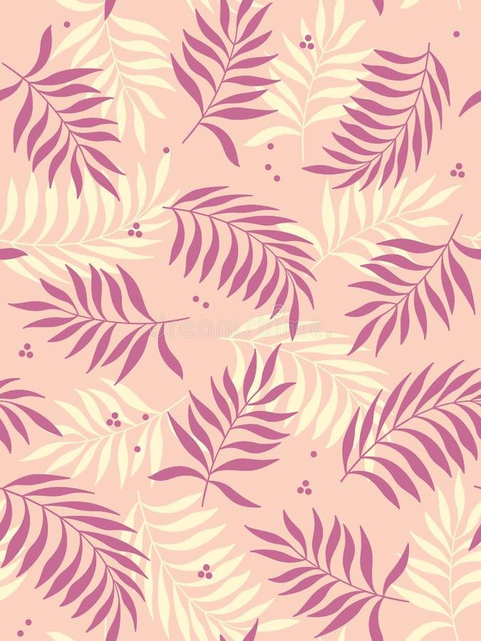 Modello senza cuciture delle foglie tropicali su fondo rosa Illustrazione di vettore illustrazione vettoriale