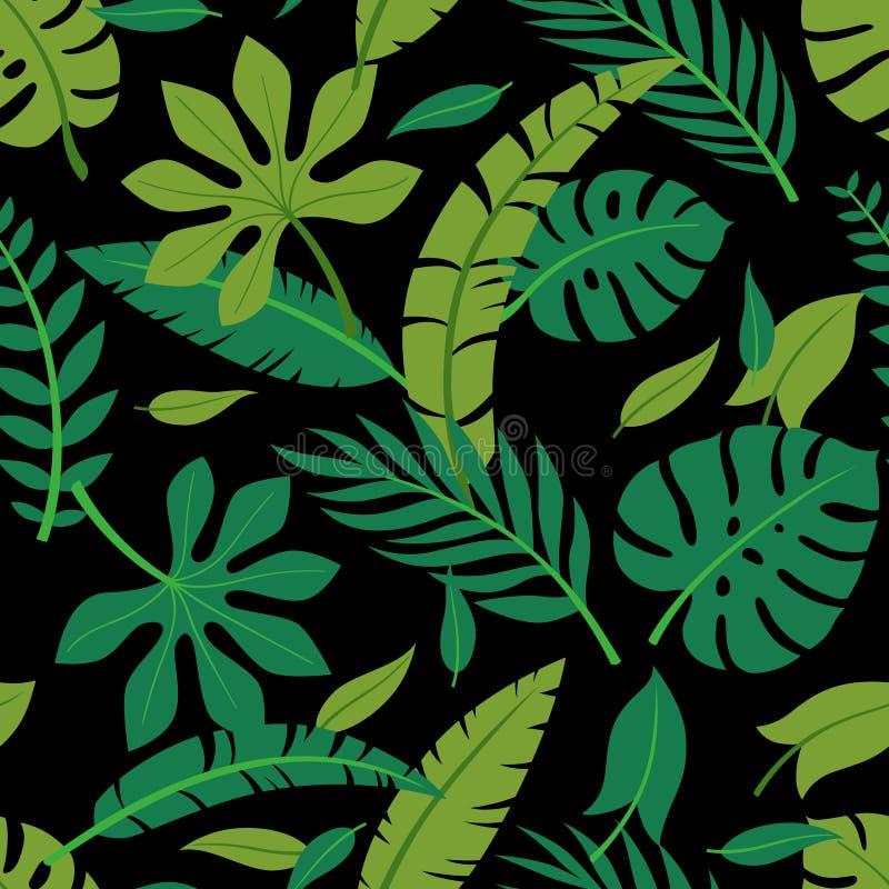 Modello senza cuciture delle foglie variopinte tropicali di vettore Disegno di estate illustrazione vettoriale