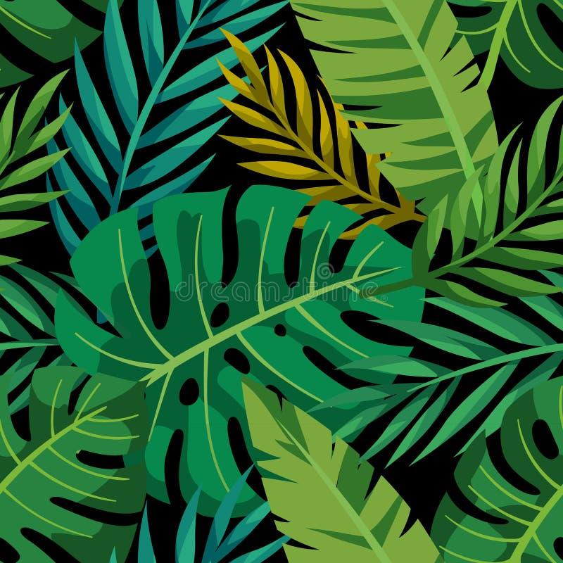 Modello senza cuciture delle foglie verdi tropicali di vettore Carta da parati esotica Progettazione di estate Fogliame tropicale illustrazione vettoriale