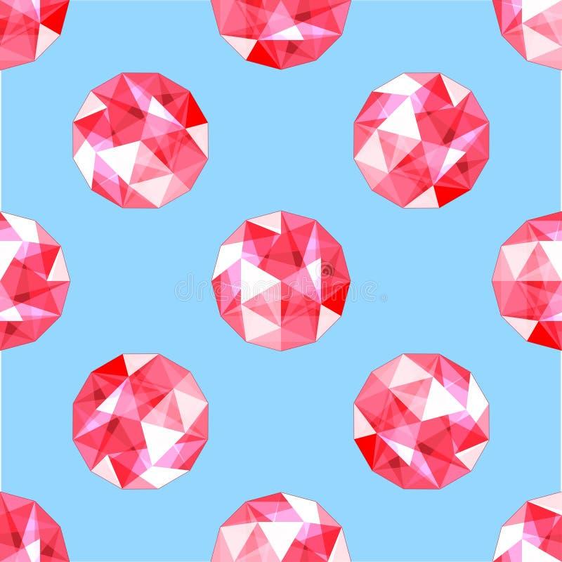 Modello senza cuciture delle gemme vermiglie rosse realistiche Illustrazione di vettore illustrazione vettoriale