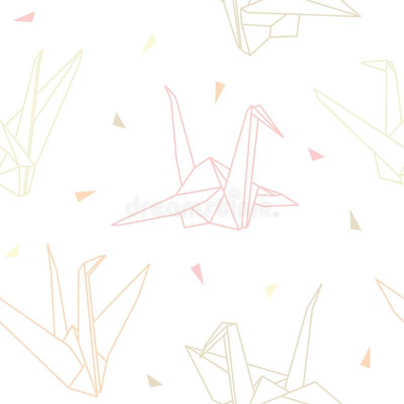 Modello senza cuciture delle gru di carta di origami di vettore illustrazione di stock