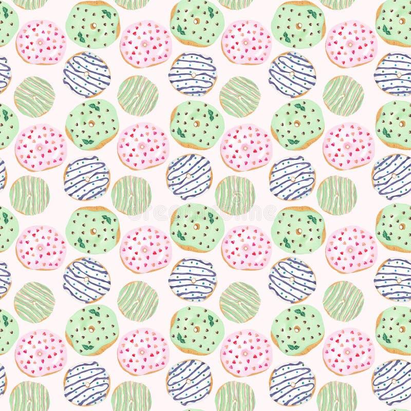 Modello senza cuciture delle guarnizioni di gomma piuma lustrate colorate su un fondo rosa Fondo dolce sveglio del dessert illustrazione vettoriale