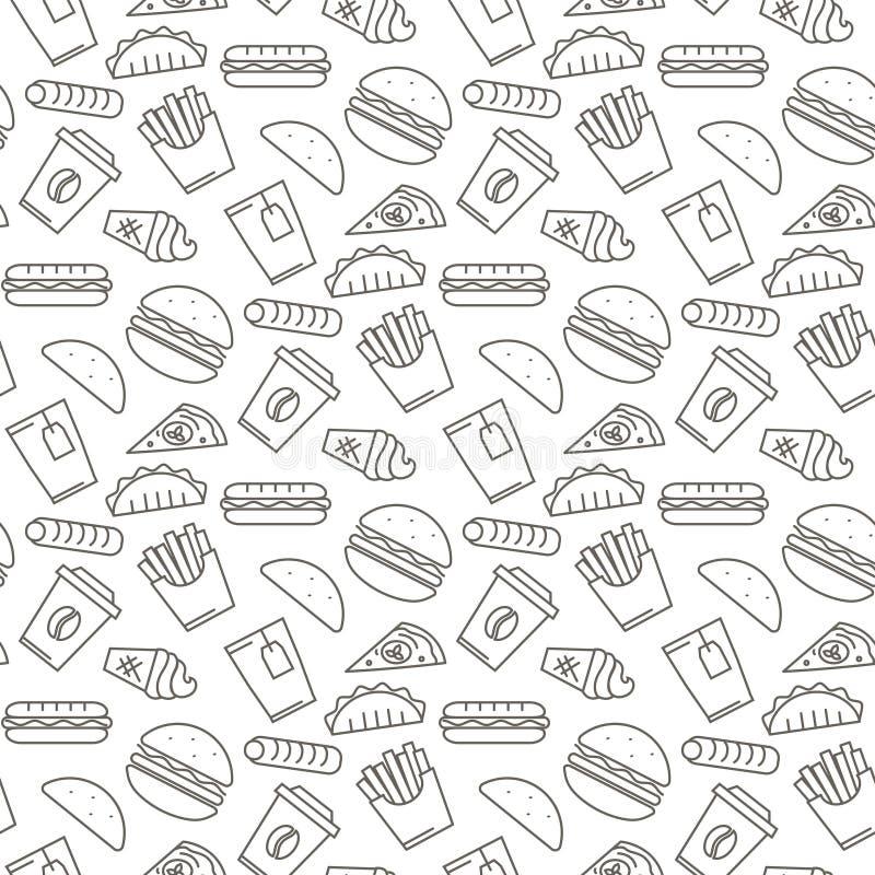 Modello senza cuciture delle icone degli alimenti a rapida preparazione di vettore illustrazione vettoriale