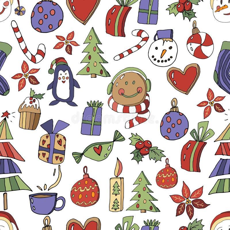 Modello senza cuciture delle icone di Natale con l'albero, il pinguino, il pan di zenzero, i regali, la lecca-lecca, il bigné e l royalty illustrazione gratis