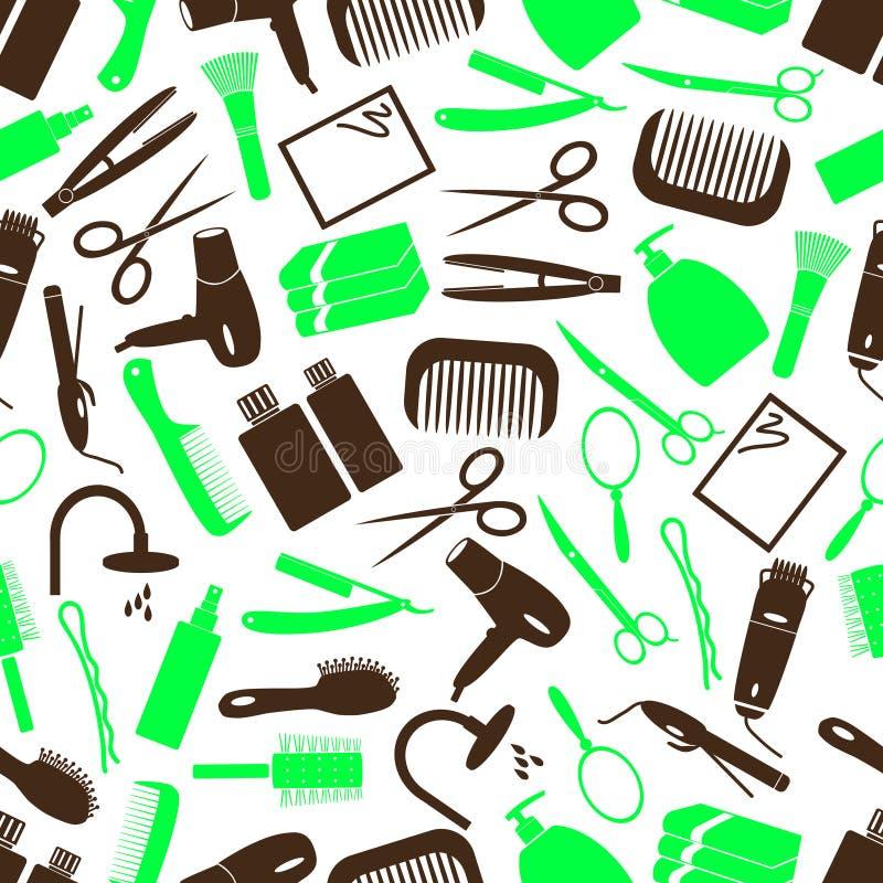 Modello senza cuciture delle icone semplici di colore di tema di cura di capelli royalty illustrazione gratis