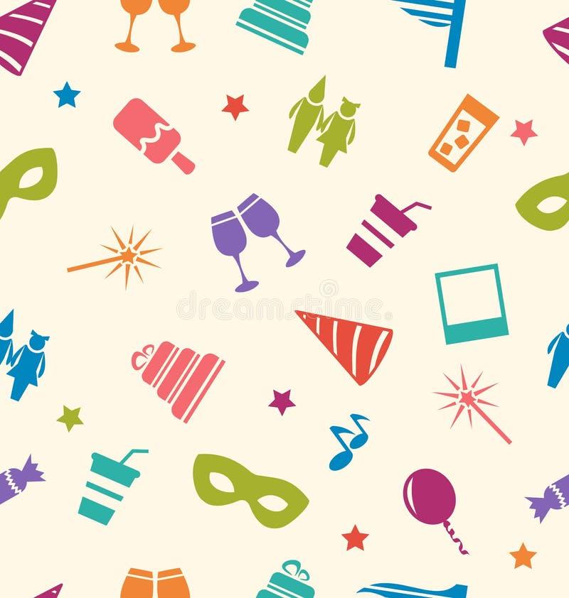 Modello senza cuciture delle icone variopinte del partito, carta da parati per le feste illustrazione di stock