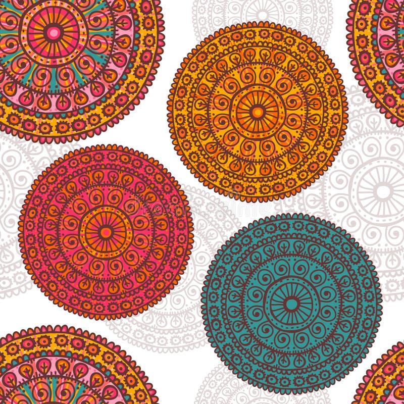 Modello senza cuciture delle mandale disegnate a mano del pizzo nei toni eterogenei illustrazione di stock