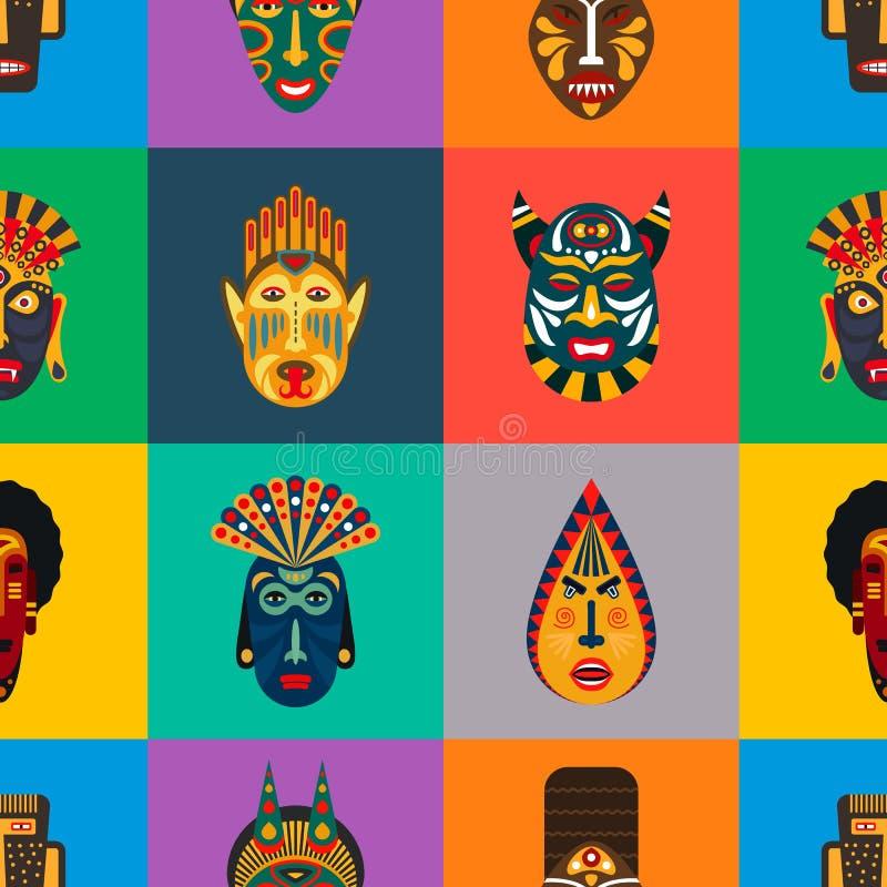 Modello senza cuciture delle maschere tribali africane illustrazione di stock