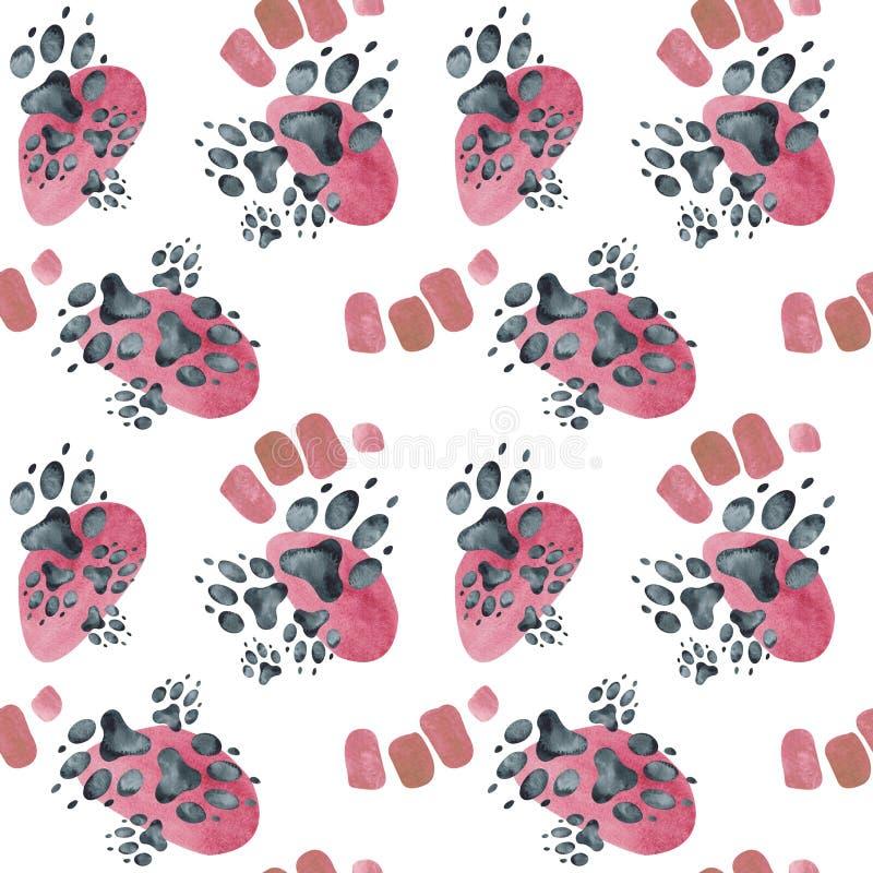 Modello senza cuciture delle orme del cane sui punti rosa Illustrazione dell'acquerello royalty illustrazione gratis