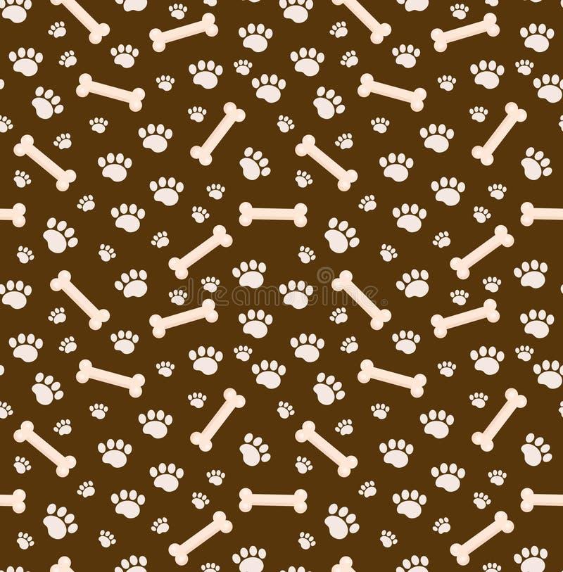 Modello senza cuciture delle ossa di cane Osso e tracce di struttura ripetitiva delle zampe del cucciolo Fondo senza fine canino  illustrazione di stock