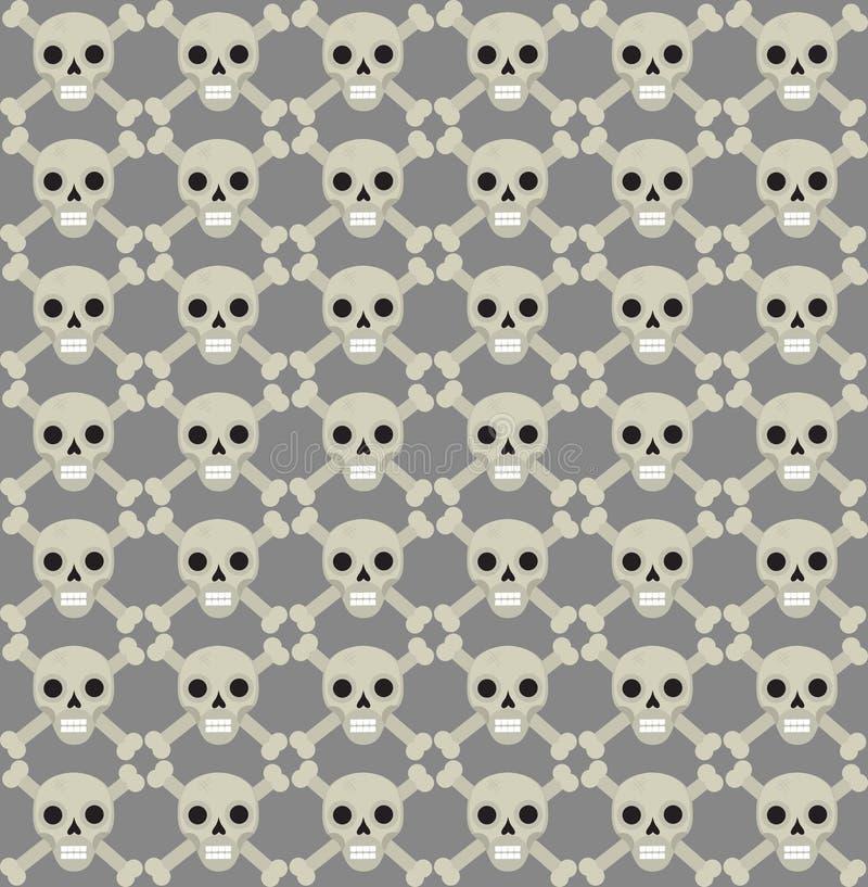 Modello senza cuciture delle ossa e del cranio Scheletro che ripete struttura Fondo senza fine dei crani Concetto di Halloween Ve illustrazione di stock