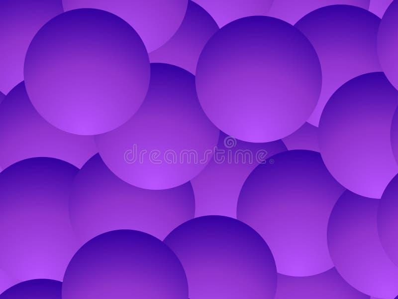 Modello senza cuciture delle palle viola di pendenza Fondo geometrico astratto con i cerchi 3d Vettore illustrazione vettoriale