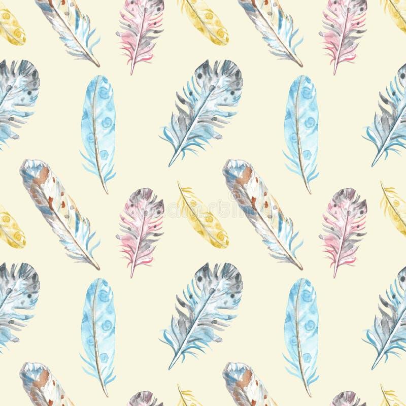 Modello senza cuciture delle piume di uccello dell'acquerello nei colori pastelli su fondo giallo Illustrazione tribale etnica di illustrazione di stock
