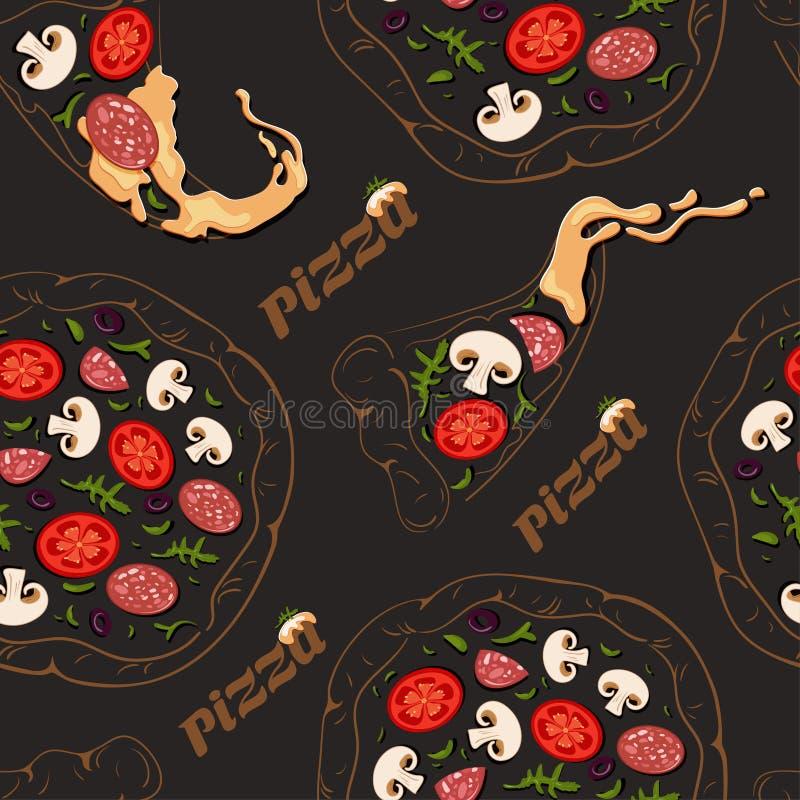 Modello senza cuciture delle pizze di contorno e delle fette della pizza con gli ingredienti di colore illustrazione di stock