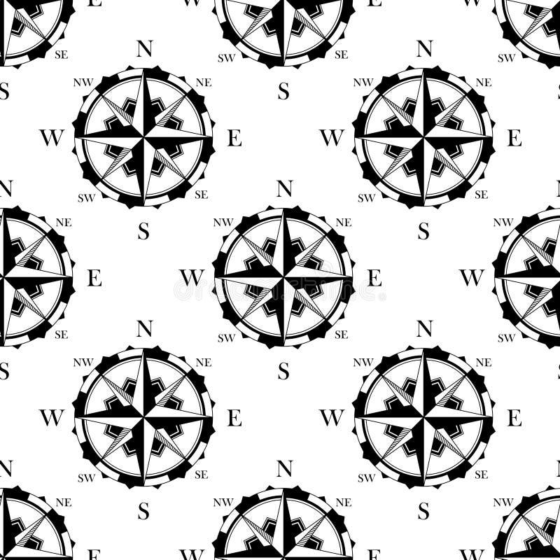 Modello senza cuciture delle retro bussole nautiche illustrazione di stock