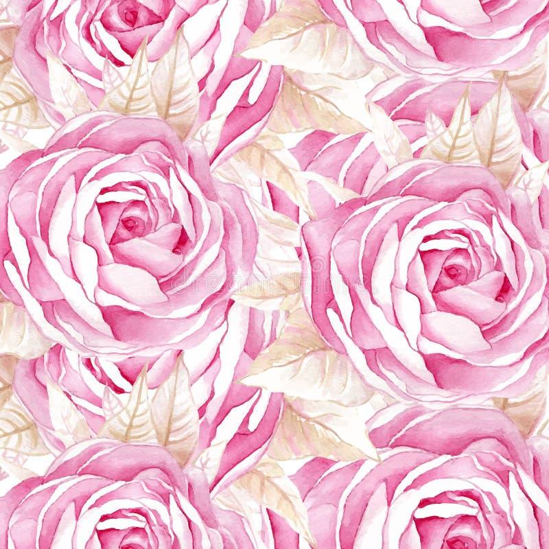 Modello senza cuciture delle rose dell'acquerello illustrazione di stock