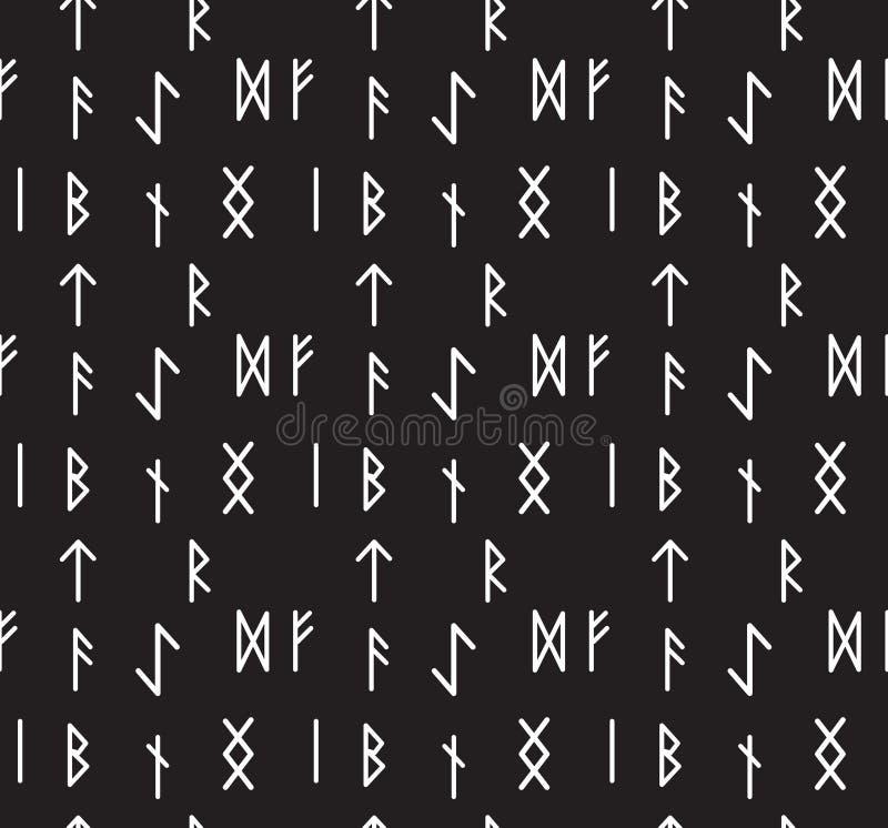 Modello senza cuciture delle rune Carta da parati di alfabeto runico Scrittura del fondo antico Vecchia struttura senza cuciture  illustrazione di stock