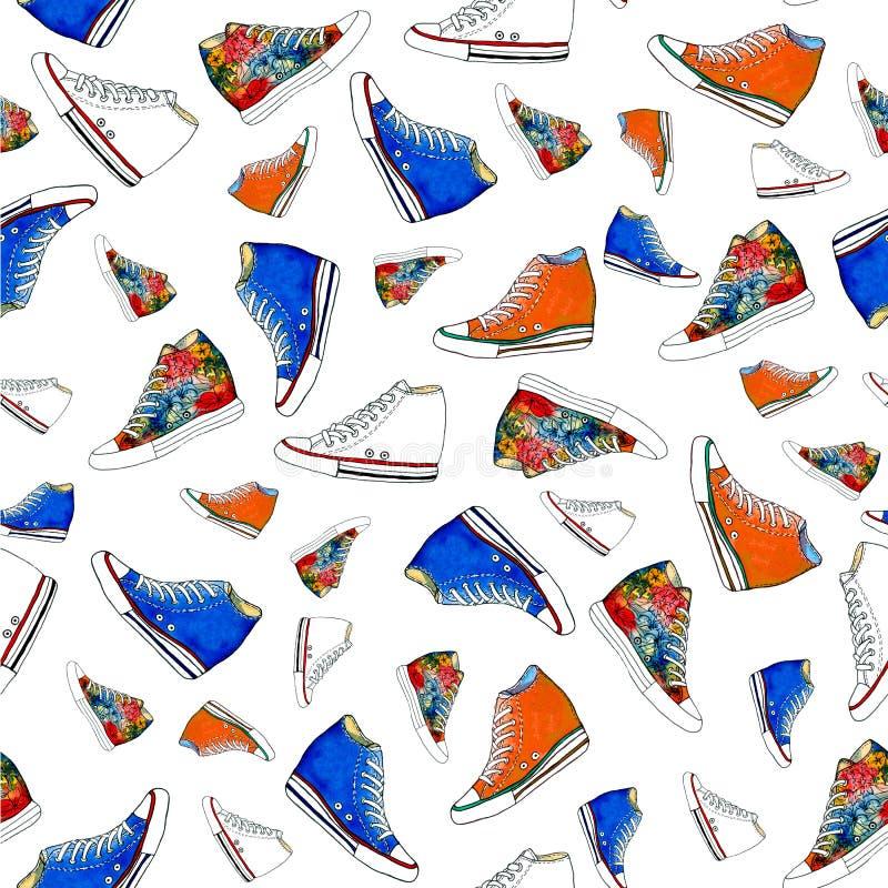 Modello senza cuciture delle scarpe delle scarpe da tennis royalty illustrazione gratis