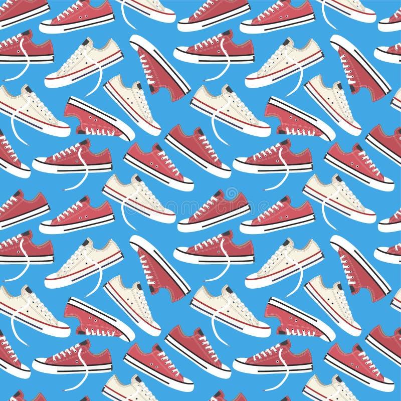 Modello senza cuciture delle scarpe da tennis Illustrazione di vettore con infinitamente la ripetizione degli elementi illustrazione di stock