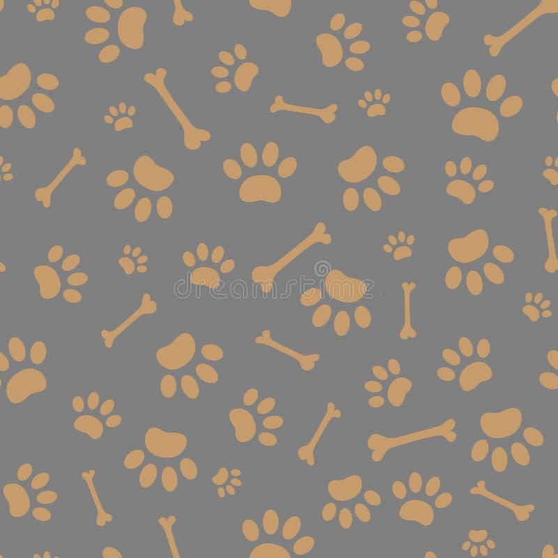 Modello senza cuciture delle stampe della zampa del cane illustrazione di stock