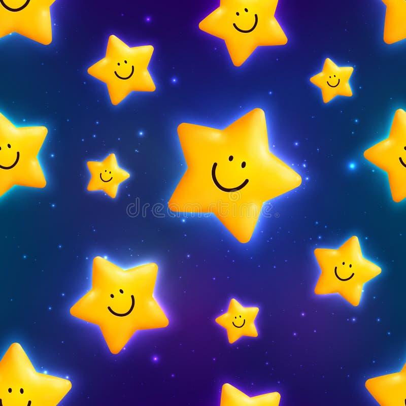 Modello senza cuciture delle stelle cosmiche gialle felici illustrazione vettoriale