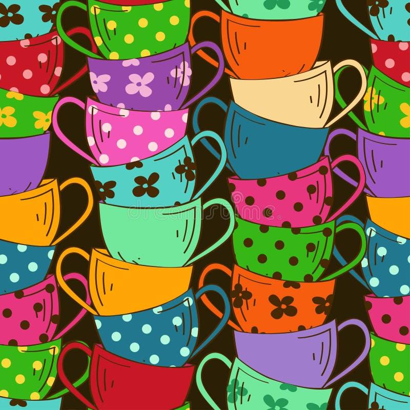 Modello senza cuciture delle tazze di tè illustrazione di stock