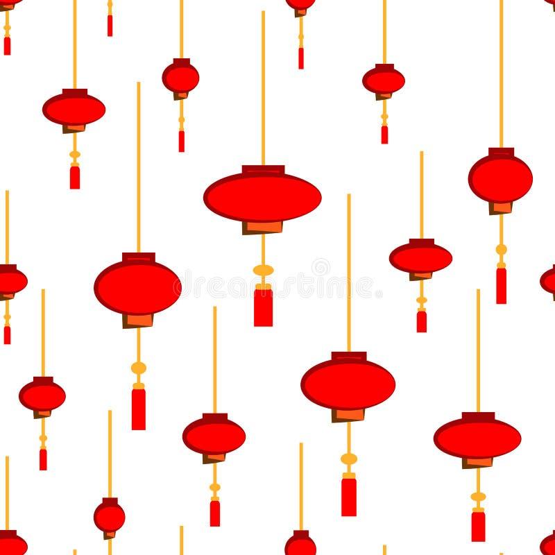 Modello senza cuciture delle torce elettriche cinesi - rosso e luci bianche disegnati a mano sul fondo dell'oro illustrazione di stock