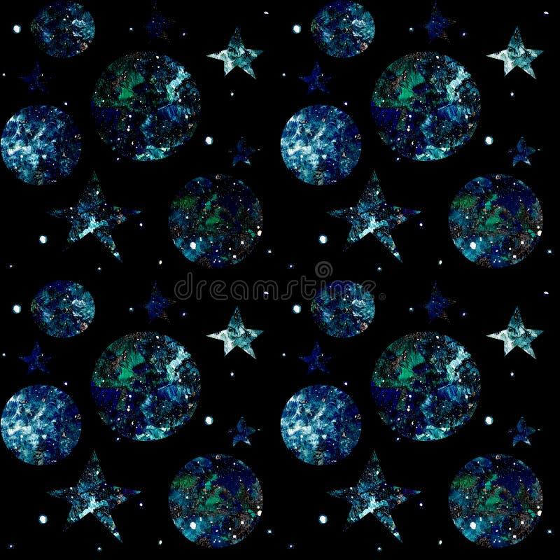 Modello senza cuciture dello spazio su un fondo nero con le stelle, pianeti, galassie illustrazione di stock