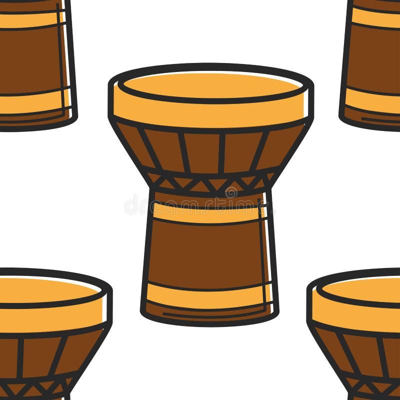 Modello senza cuciture dello strumento nazionale turco del tamburo di tamtam illustrazione di stock