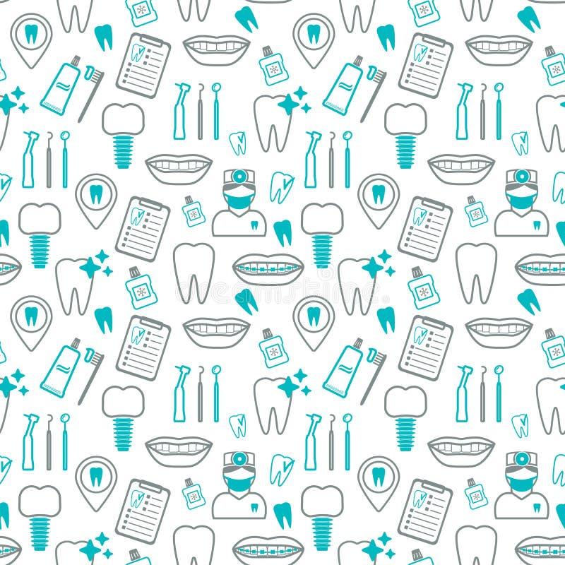 Modello senza cuciture dentario Icone lineari Progettazione piana Vettore fotografia stock libera da diritti