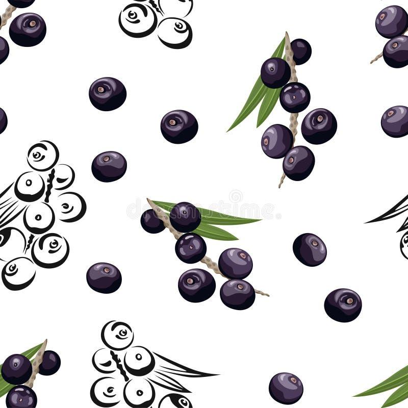 Modello senza cuciture di Acai Bacche scure con le foglie verdi illustrazione di stock