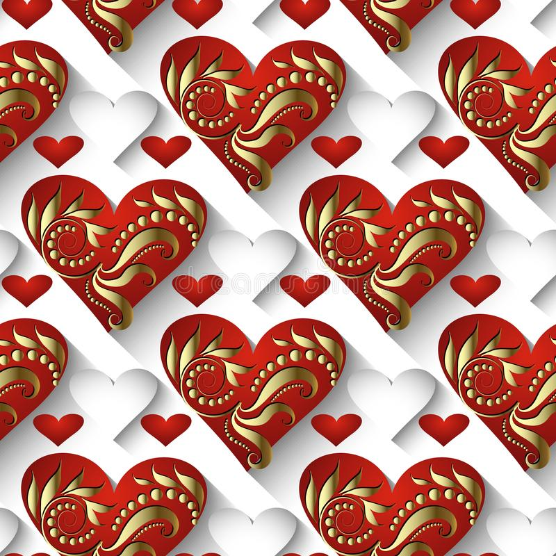 modello senza cuciture di amore 3d di vettore d'annata dei cuori Elega ornamentale illustrazione vettoriale