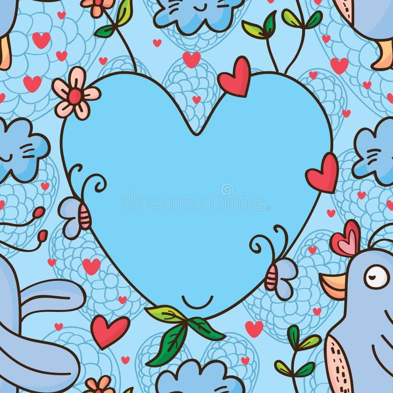 Modello senza cuciture di amore dell'uccello illustrazione di stock