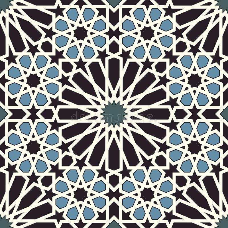 Modello senza cuciture di arabesque in blu e nel nero illustrazione vettoriale