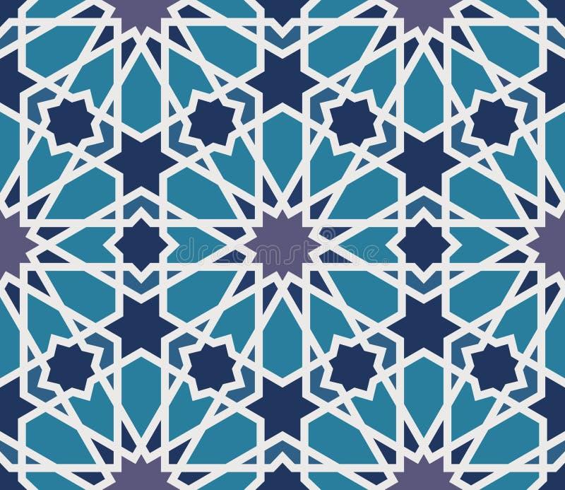 Modello senza cuciture di arabesque in blu ed in grigio illustrazione di stock