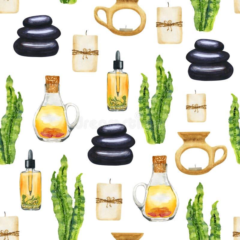 Modello senza cuciture di aromaterapia della STAZIONE TERMALE dell'acquerello su fondo bianco royalty illustrazione gratis
