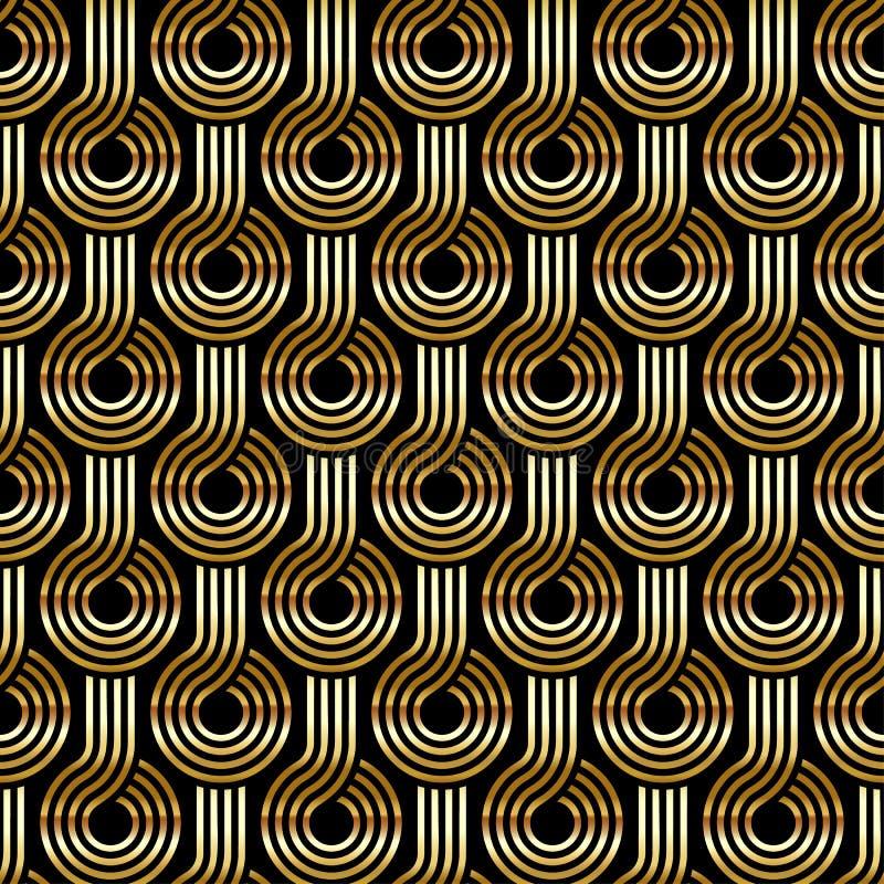 Modello senza cuciture di art deco dell'oro di vettore antico illustrazione vettoriale
