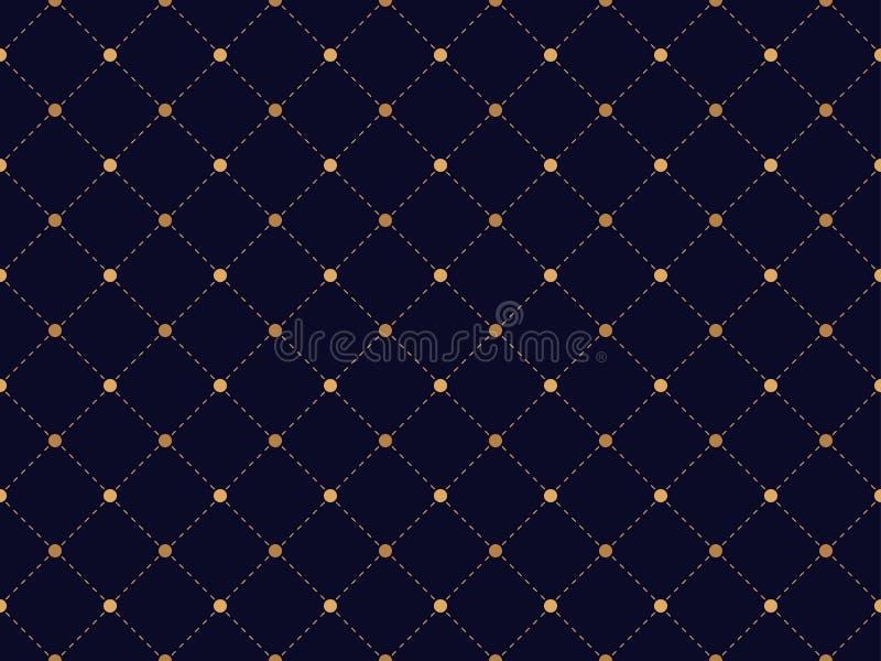 Modello senza cuciture di art deco, punteggiato diagonalmente e punti Fondo astratto solido e ricco di colore dell'oro, Vettore illustrazione di stock