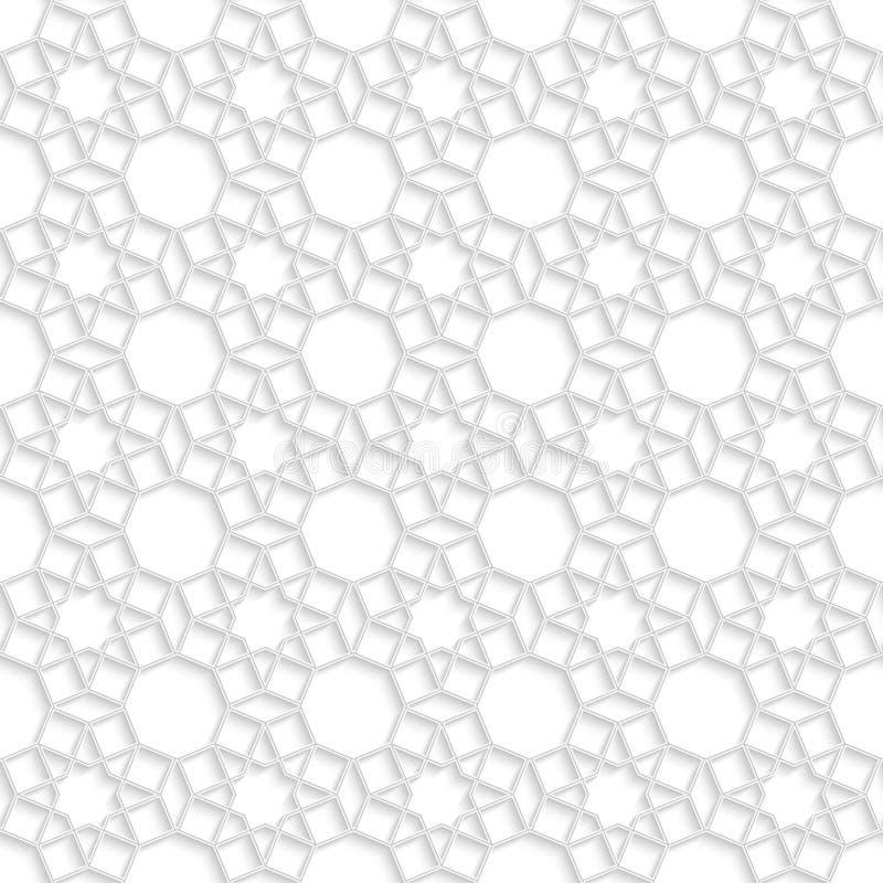Modello senza cuciture di arte araba bianca astratta con effetto ombra illustrazione di stock