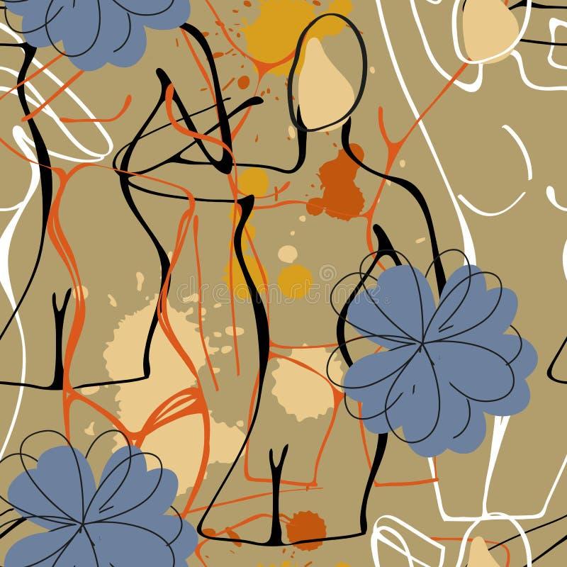 Modello senza cuciture di arte con le gocce della pittura e le siluette nude delle donne royalty illustrazione gratis