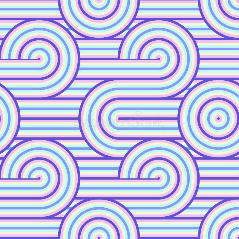 Modello senza cuciture di arte op di vettore astratto Pop art variopinto, ornamento grafico Illusione ottica 70s illustrazione vettoriale