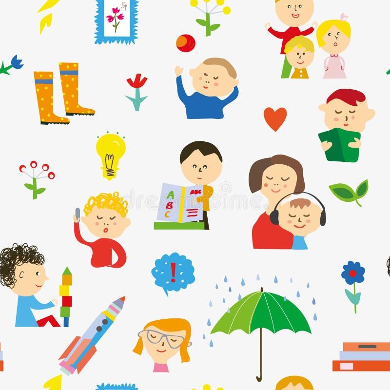 Modello senza cuciture di asilo con i bambini, i giocattoli e le attività Illustrazione di vettore royalty illustrazione gratis