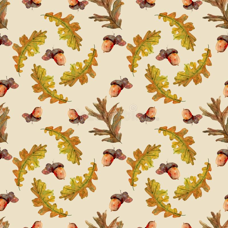 Modello senza cuciture di autunno con le foglie illustrazione di stock