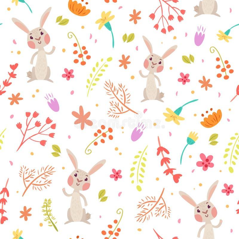 Modello senza cuciture di autunno sveglio con coniglio illustrazione vettoriale