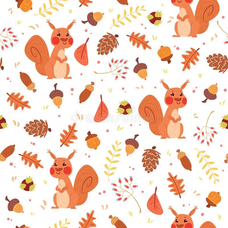 Modello senza cuciture di autunno sveglio con gli scoiattoli illustrazione vettoriale