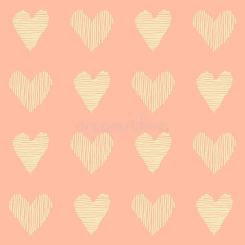 modello senza cuciture di bello vettore di rosa, ripetente progettazione con i cuori disegnati a mano, grande per valentine' illustrazione di stock