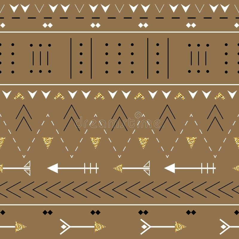 Modello senza cuciture di Boho con le frecce decorative Stampa geometrica etnica con struttura dorata di scintillio royalty illustrazione gratis