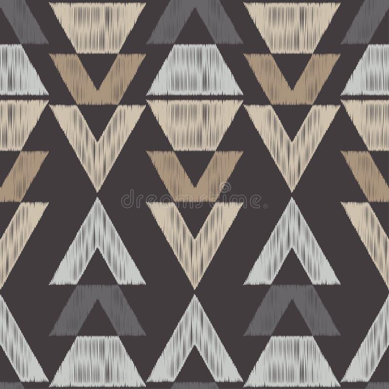 Modello senza cuciture di boho etnico Reticolo tribale Ricamo su tessuto Struttura dello scarabocchio Retro motivo illustrazione vettoriale