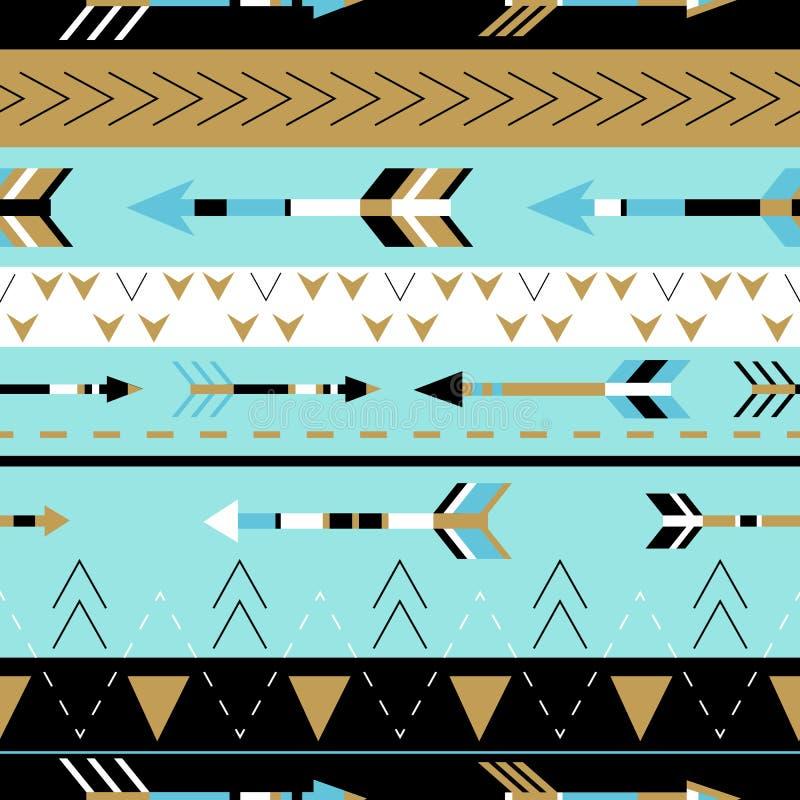 Modello senza cuciture di boho tribale delle frecce Stampa geometrica etnica illustrazione di stock