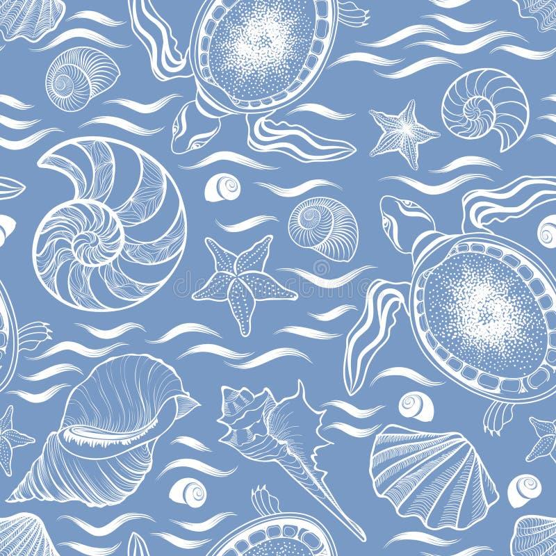Modello senza cuciture di bugia marina Conchiglia, tartaruga, mollusco, wa dell'oceano illustrazione vettoriale